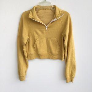 Brandy Melville J Galt Cropped Sweatshirt Yellow